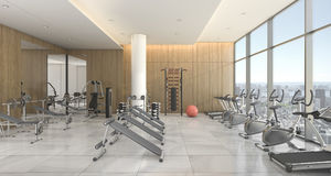 3d rendering modern wood gym and training room with city view Royalty Free Stock Image