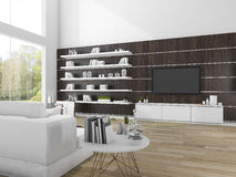3d rendering modern wood living room with white sofa Stock Image