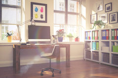 3d rendering - modern workplace - home office - vintage look Stock Image