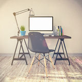 3d rendering - modern workplace - vintage look Stock Photography
