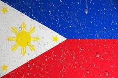 3D rendering mokra Filipiny flaga po tajfunu ilustracji