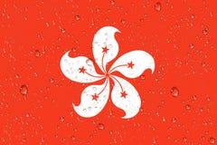 3D rendering mokra Hong Kong flaga po tajfunu royalty ilustracja