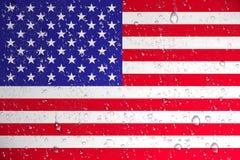 3D rendering mokra Stany Zjednoczone flaga po Huragan ilustracja wektor