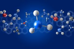 3d rendering molecule on a color background. View of a 3d rendering molecule on a color background Stock Image