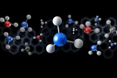 3d rendering molecule on a color background. View of a 3d rendering molecule on a color background Stock Images