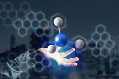 3d rendering molecule on a displayed on a medical interface. View of a 3d rendering molecule on a displayed on a medical interface Royalty Free Stock Images