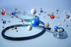 3d rendering molecule on a displayed on a medical interface. View of a 3d rendering molecule on a displayed on a medical interface Royalty Free Stock Image