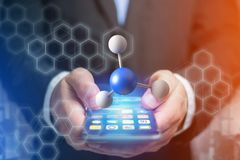 3d rendering molecule on a displayed on a medical interface. View of a 3d rendering molecule on a displayed on a medical interface Stock Images