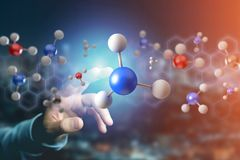 3d rendering molecule on a displayed on a medical interface. View of a 3d rendering molecule on a displayed on a medical interface Royalty Free Stock Photography