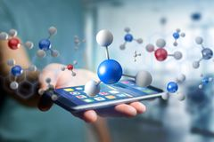 3d rendering molecule on a displayed on a medical interface Stock Photo