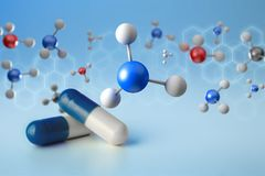 3d rendering molecule on a displayed on a medical interface Stock Images