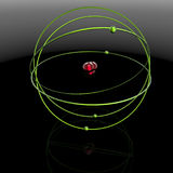 3D rendering. Molecule. Molecule. Visualization of the abstract model of the molecule. A spherical center and a circular orbit. Illustration of physical Stock Photo
