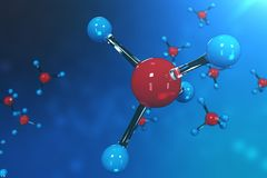 3D rendering molecules. Atoms bacgkround. Medical background for banner or flyer. Molecular structure at the atomic Stock Image