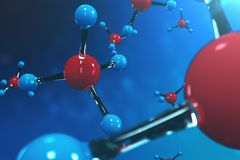 3D rendering molecules. Atoms bacgkround. Medical background for banner or flyer. Molecular structure at the atomic. Level royalty free illustration