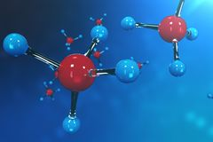 3D rendering molecules. Atoms bacgkround. Medical background for banner or flyer. Molecular structure at the atomic. Level stock illustration