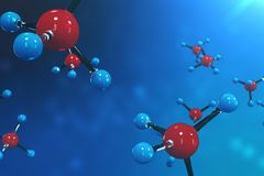 3D rendering molecules. Atoms bacgkround. Medical background for banner or flyer. Molecular structure at the atomic. Level Royalty Free Stock Photos