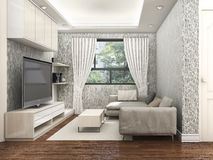 3d rendering morning living room near yard. 3D Interior rendering by 3ds max Royalty Free Stock Image
