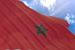 3D rendering of Morocco flag waving on blue sky background Stock Photos