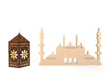 3d rendering of mosque and Arabian style lantern Royalty Free Stock Photography
