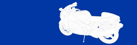 3d rendering of a motor on a blue background blueprint. Shape Royalty Free Stock Image