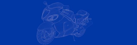 3d rendering of a motor on a blue background blueprint. Shape Stock Photo