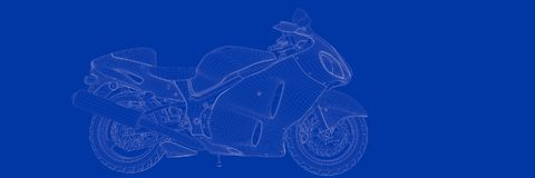 3d rendering of a motor on a blue background blueprint. Shape Stock Photography