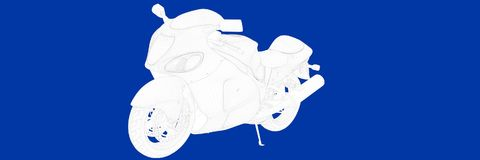 3d rendering of a motor on a blue background blueprint. Shape Royalty Free Stock Photo
