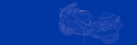 3d rendering of a motor on a blue background blueprint. Shape Stock Images