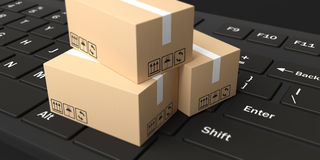 3d rendering moving boxes on black keyboard. 3d rendering closed moving boxes on black keyboard Stock Photo