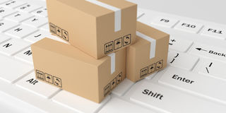 3d rendering moving boxes on white keyboard. 3d rendering closed moving boxes on white keyboard Royalty Free Stock Photos