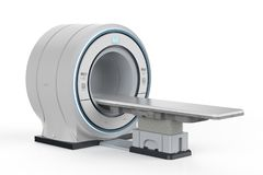 Mri scan machine. 3d rendering mri scan machine or magnetic resonance imaging scan device on white background stock photography
