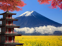 3d rendering Mt. Fuji with fall colors in Japan Royalty Free Stock Photo