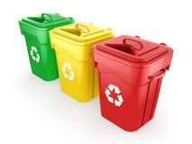 3D rendering Multicolor Recycling Bins Royalty Free Stock Images