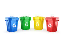 3D rendering Multicolor Recycling Bins Stock Photo