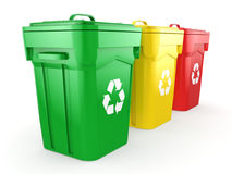 3D rendering Multicolor Recycling Bins Royalty Free Stock Image