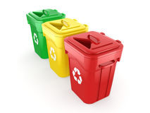 3D rendering Multicolor Recycling Bins Royalty Free Stock Photography