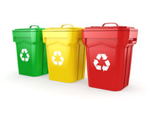3D rendering Multicolor Recycling Bins Stock Images