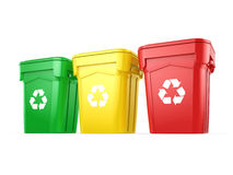 3D rendering Multicolor Recycling Bins Stock Photography