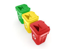3D rendering Multicolor Recycling Bins Royalty Free Stock Photo