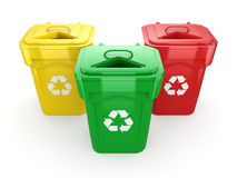 3D rendering Multicolor Recycling Bins Royalty Free Stock Photos