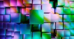 3D rendering. Multicolored cubes on a bright background. Geometric figures surrounded by bright highlights. Colorful environment. 3D . Multicolored cubes on a royalty free illustration