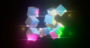 3D rendering. Multicolored cubes on a bright background. Geometric figures surrounded by bright highlights. Colorful environment. 3D . Multicolored cubes on a stock illustration