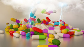3D rendering multicolored medical pills Stock Photo