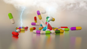 3D rendering multicolored medical pills Stock Images