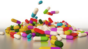 3D rendering multicolored medical pills Royalty Free Stock Photo