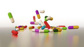 3D rendering multicolored medical pills Stock Photos