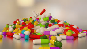 3D rendering multicolored medical pills Royalty Free Stock Image