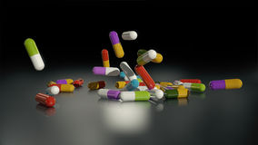 3D rendering multicolored medical pills. Falling from top to bottom Royalty Free Stock Photo