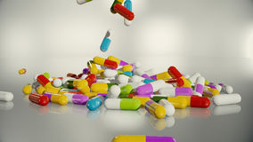 3D rendering multicolored medical pills. Falling from top to bottom Royalty Free Stock Images