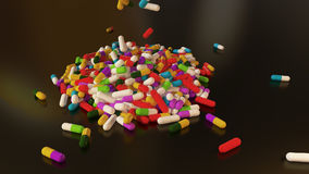 3D rendering multicolored medical pills. Falling from top to bottom Royalty Free Stock Photos